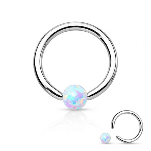 Captive Bead Ring with Multicoloured Opal Ball Surgical Steel